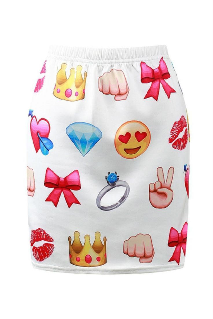 Cute Emoji Print Bodycon Skirt Discover K Fashion J Pop