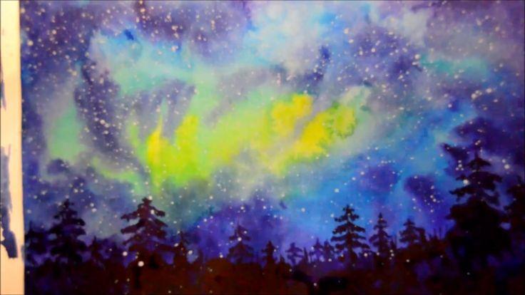 Guash, watercolor. Painting, night landscape. Ночной пейзаж, с нуля.