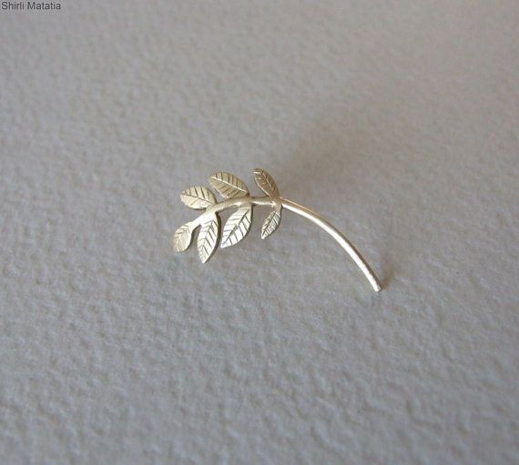 Gold Plated Silver Leaves Cartilage by shirliclassicjewelry
