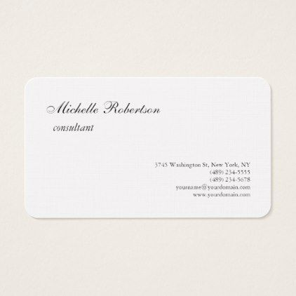 Luxury Premium Linen Black White Plain Minimalist Business Card - real estate gifts business cyo diy customize