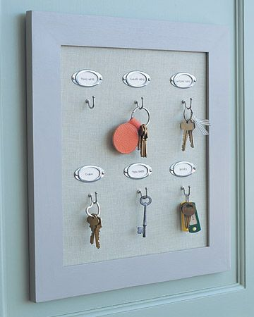 Keep Track of Keys  Choose a consistent spot for keys, such as a series of hooks, to store keys for the house as well as around the house. Label spares.