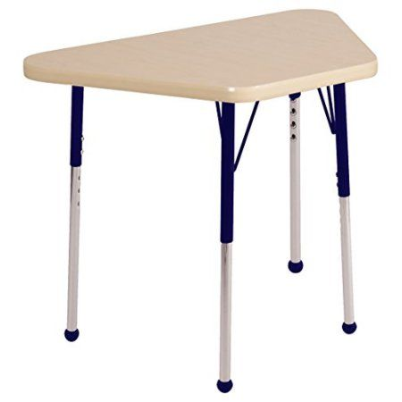 ECR4Kids 18in x 30in Trapezoid Premium Thermo-Fused Adjustable Activity Table Maple/Maple/Navy – Standard Ball