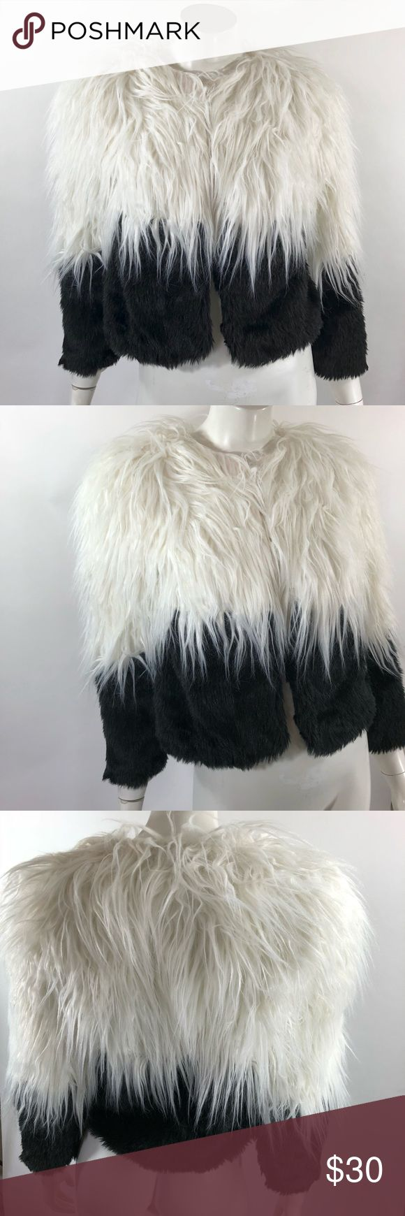 Choies Jacket Large Black White Fuzzy Black White Choies Womens Jacket Large Black White Fuzzy Faux Fur Black White Colorblock NEW. Measurements: (in inches) Underarm to underarm: 17 Length: 19.5 Sleeve: 21 New with tags. Choies Jackets & Coats