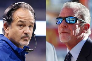 Chuck Pagano and Jim Irsay (Photos by Joe Robbins/Getty Images)  the only deflated ball was the one the Colts intercepted and later turned into the league.... Hmmmm tamper much?  The Colts GM has had a personal vendetta against Bill Bellicheck and The Patriots.