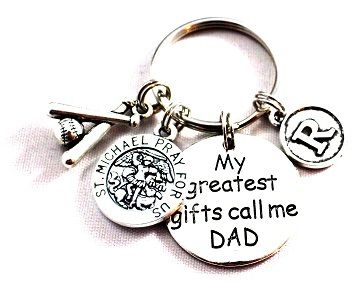 "Customized St. Michael - THE PATRON of POLICE OFFICERS Key Chain for Dad !  Personalize a special Key Chain for Fathers Day, Dads Birthday or ANY DAY. You may add initial charms for Dads children, sport charms (AWESOME for Coach Daddy), Jersey #'s and/or Religious Charms.  This handmade key chain is approximately 2"" from end to end - perfect for Dads Keys!"