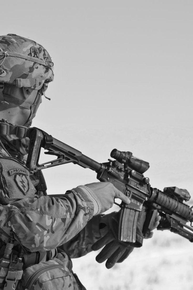 army, black-and-white, gun