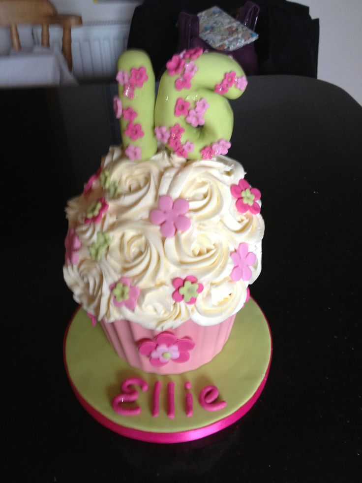 Giant cupcake for sweet 16th birthday Shades of pink & lime green  Shabby chic roses. Giant floral 16    Thank you so much for making my cake, it was delicious and beautiful xx