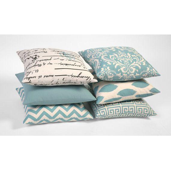 One Aqua Blue and Natural Cream INVISIBLE ZIPPER Decorative Throw Zipper Pillow Cover Soft Blue 18x18 20x20 22x22 24x24 26x26 28x28  Ask a Question $20.00 USD. CA