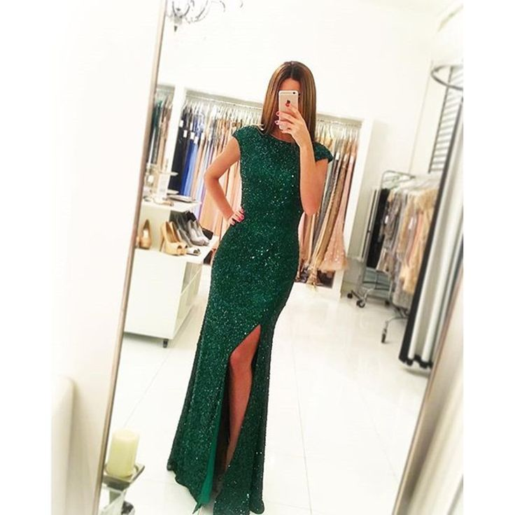 Cap Sleeves Emerald Green Sequin Prom Dress with