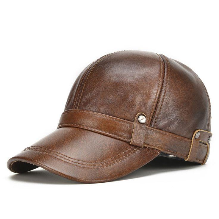[AETRENDS] 2017 New Winter Men's 100% Leather Baseball Cap Men Warm Hats with Ears Flap Z-5304