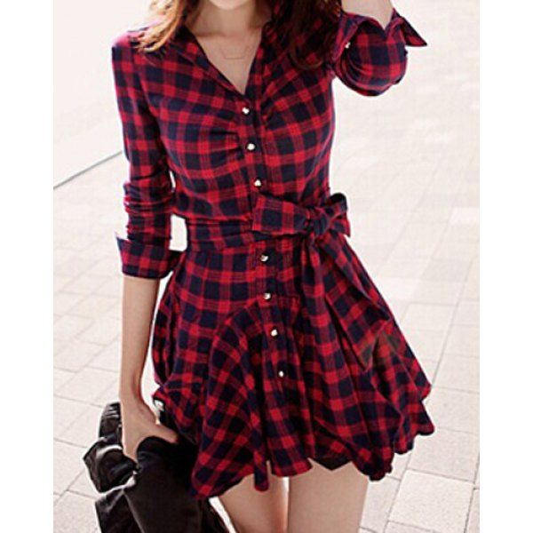 Stylish Turn-Down Collar Checked Print Lace-Up Long Sleeve Women's Dress, RED, L in Dresses 2015   DressLily.com