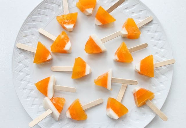That's so Michelle...: Candy Corn Jello Shots on a Popsicle Stick (again, you could do a version for a child's party or a Halloween party)