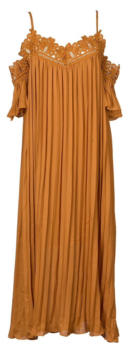 What matters most right now is that you hurry and checkout with this maxi dress! This fully pleated relaxed fit dress is finished with a graphic lace neckline trim, specifically designed for the piece. The off shoulder detail is also pleated giving a voluminous half sleeve. Everything about this puts us in a great mood!