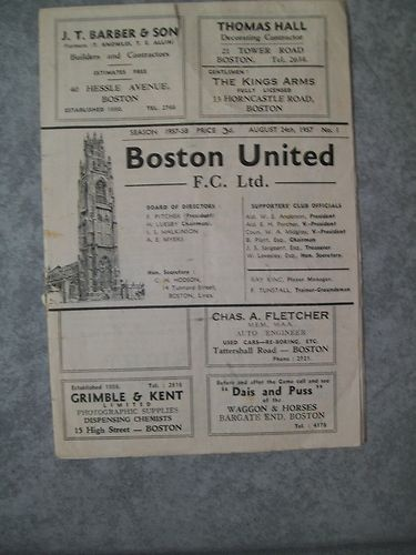 Away to Boston Utd  Midland League   24th August 1957