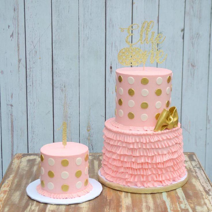 Pink and Gold Buttercream Ruffle Cake
