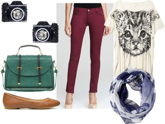 How to wear oxblood jeans for day with a cat print tee, blue skull scarf, tan flats, green satchel, and camera-shaped studs