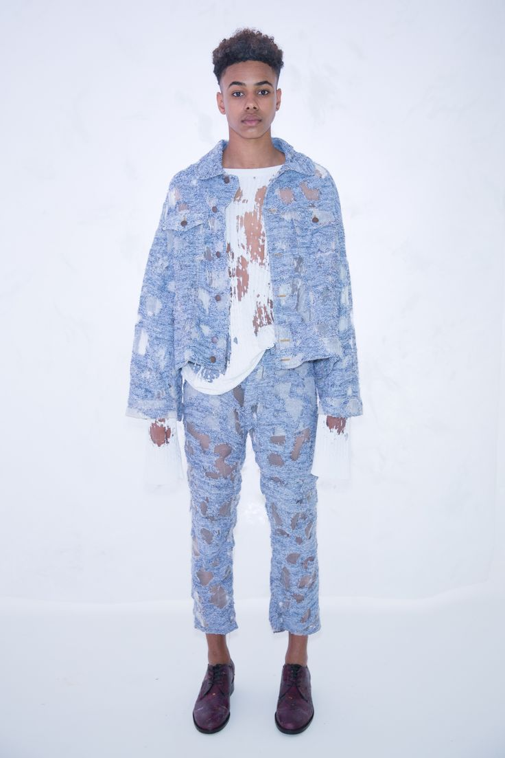 KA WA KEY Spring Summer 2017 London Collections: MEN Experimental sensuous romantic textile on Menswear / Womenswear / Knitwear as an east-meet-west impressionism painting Denim Blue Devore Knit Jacket White Cable Knit Sweater Denim Blue Devore Knit Jeans
