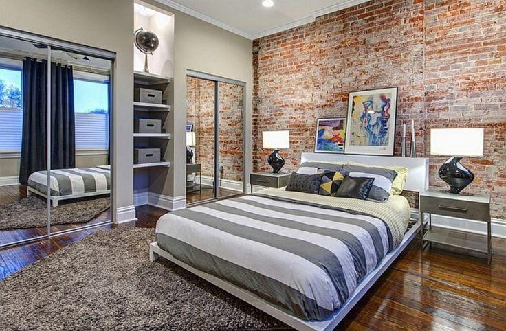 paredes ladrillos cama bandas grises