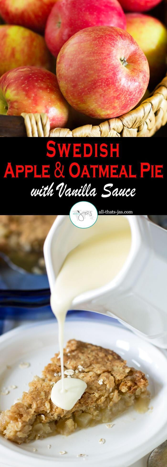 Homemade Swedish apple oatmeal pie with cardamom and creamy vanilla sauce is a perfect dessert for fall or enjoyed any time of the year. This recipe is delicious warm or cold and it is a pure comfort food.