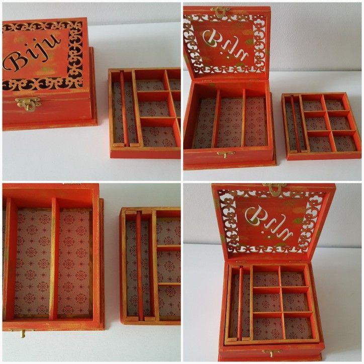 Caixa Biju 2 andares  vermelho
