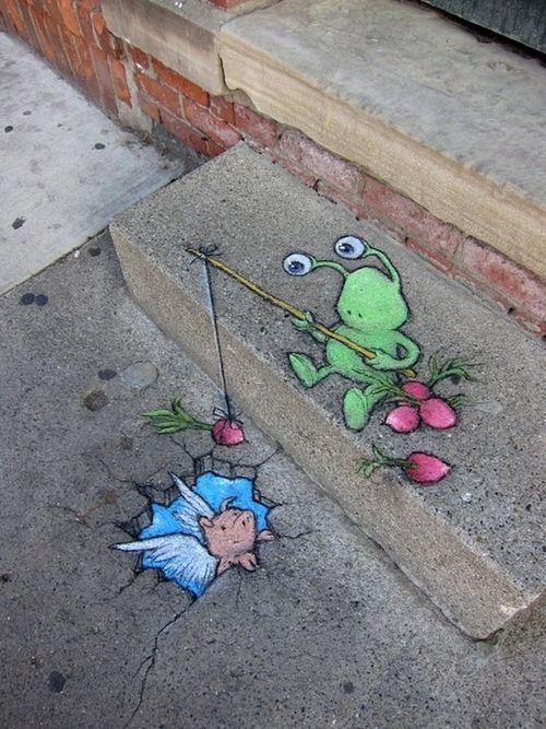 creative chalk street art