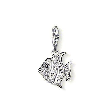 Серебряный шарм Ярким diy шармы браслет серебрение эмали украшения подвеска Серебряный CZ камни тропические рыбы подвески
