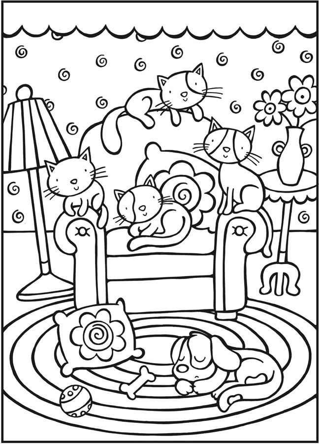 SPARK--Cool Cats Coloring Page - (doverpublications)