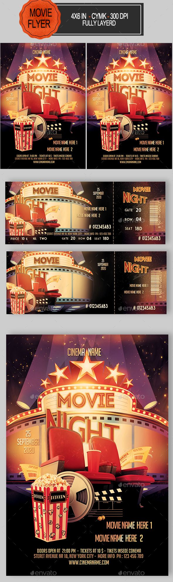 Movie Night Flyer+Ticket — Photoshop PSD #director #night • Available here → https://graphicriver.net/item/movie-night-flyerticket/17340472?ref=pxcr