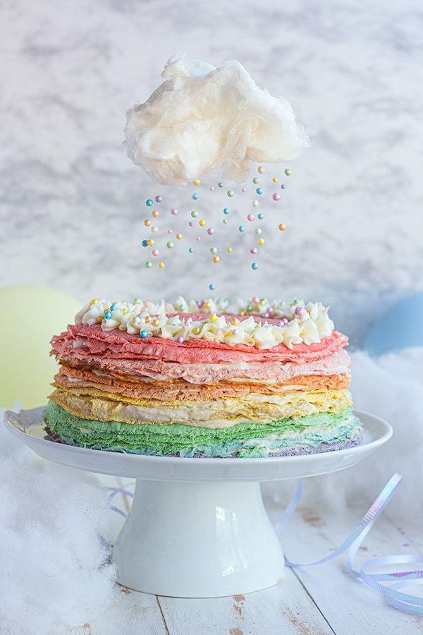 Pastel de Crepas Arcoíris, un pastel colorido pero también saludable y fácil de hacer, elaborado con crepas de harina de avena y relleno de crema de requesón. Pastel sin Horno Crepes, Nutella, Vanilla Cake, Recipies, Birthday, Desserts, Relleno, Food, Gourmet