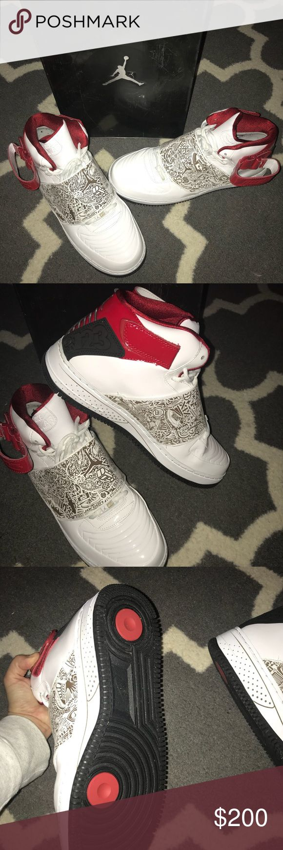 Air Jordan Fusion 20AJF 20White/Black Varsity Red **RETRO*** One of the first Air Jordan Fusion 20 Mids to release was inspired by the Original Air Jordan XX release, the Air Jordan Fusion 20 (AJF 20) White / Black – Varsity Red. As a general release, the Air Jordan Fusion 20 White Black Red did well. You might notice the glossy upper, this is actually patent leather. The Air Jordan Fusion 20 White Black Red retailed for $155, and released November 29th 2008. Jordan Shoes Sneakers