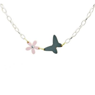 Tiny Dancer Floral Butterfly Necklace Pastel pink bejewelled Daisy & dancing butterfly necklace
