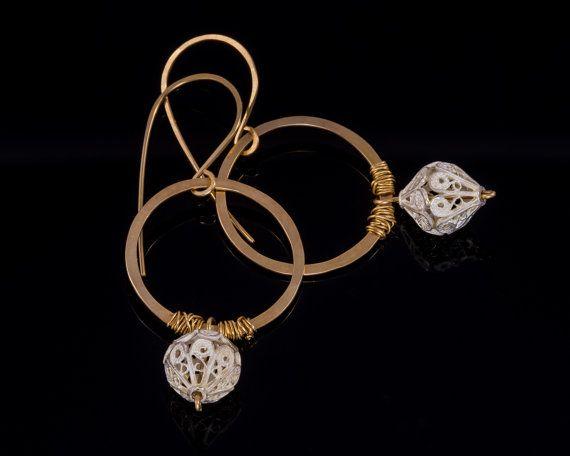 Round silver filigree earrings  Sterling by JackAssayagJewelry