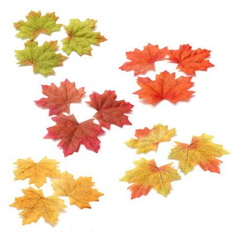 100 pcs Artificial Cloth Maple Leaves - 5 Different Colors - Decor Trends - 1