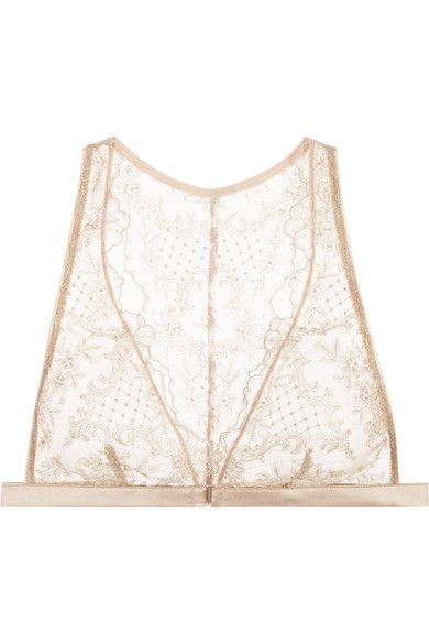 I.D. Sarrieri - Accord Prive Satin-trimmed Embroidered Stretch-tulle Soft-cup Bra - Beige - 36C