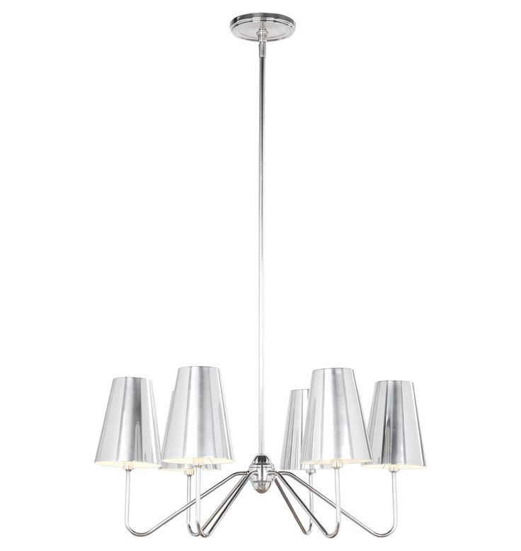 Berkshire 6-Arm Chandelier with Metal Shades 16-3/4in Overall Length - Antique Silver A0567