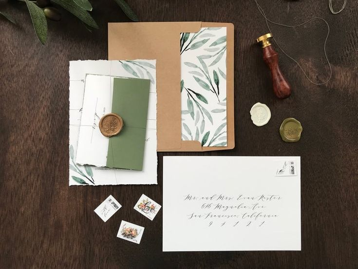 Deckled Edge Wedding Invitation Set With Greenery Wax Seal Hand Torn Edges With Watercolor Eucalyptus Elegant Romantic Simple Invite Timeless Wedding Invitations Antler Wedding Invitations Barn Wedding Invitations