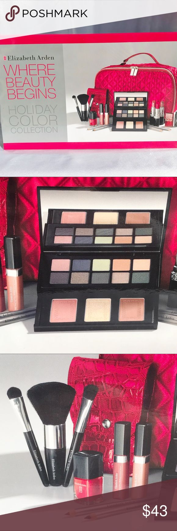 Elizabeth Arden Holiday Color Collection New in box HUGE Elizabeth Arden Where Beauty Begins Makeup Set includes the following: Deluxe palette w/ 10 shadows, 2 blushes, & 1 powder 3 Pc brush set & bag 3 lipsticks 2 lipglosses  2 eye pencils  2 lip pencils Nail polish Red Door perfume 0.16oz Mascara Red quilted satin bag Sephora Makeup