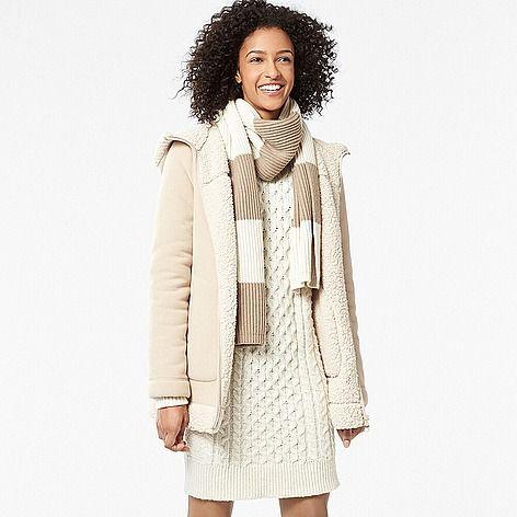 WOMEN Faux Fur Lined Fleece Coat