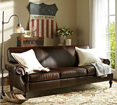 Tight back sofa are sometimes nice because they're are no back cushions to straighten/ Brooklyn Leather Sofa #potterybarn