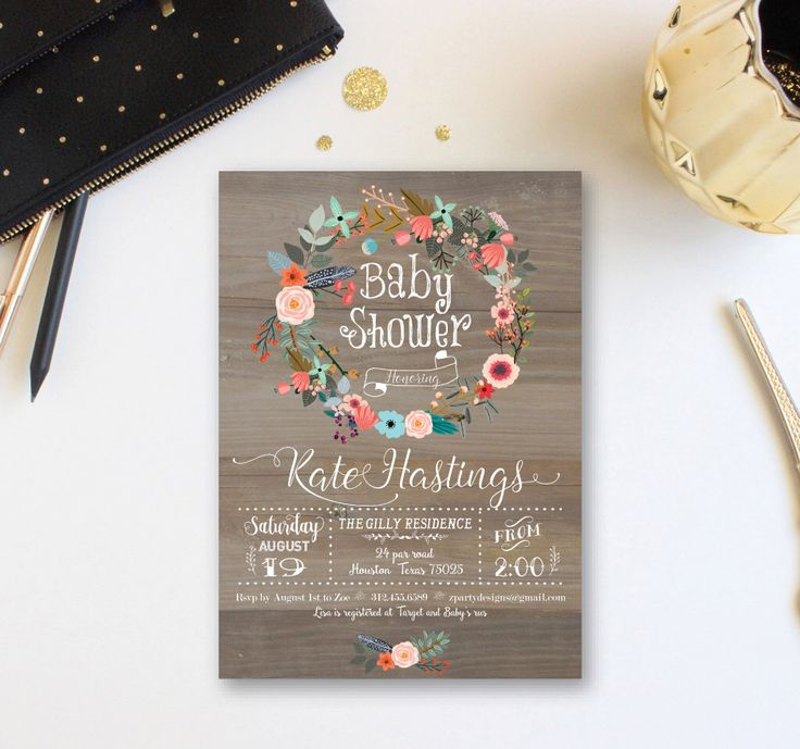 baby shower invitation wording for bringing diapers%0A Vintage Wood Baby Shower Invitation  Floral wreath Baby Shower Invite  Baby  Girl Winter Shower