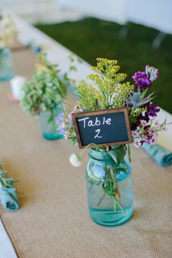 blue mason jar floral arrangements