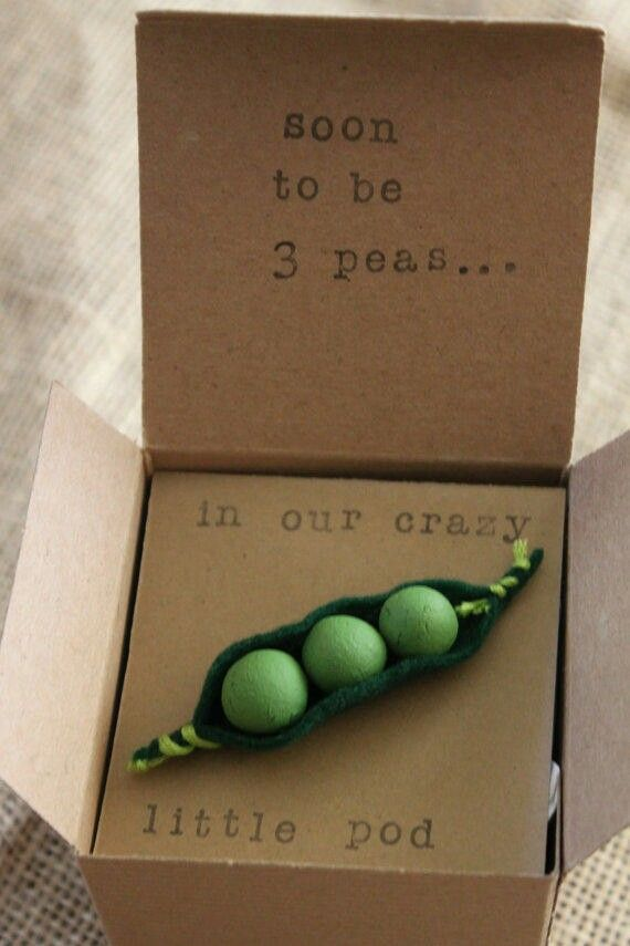 Peas in a Pod Pregnancy Suprise! What a cute way to tell him!