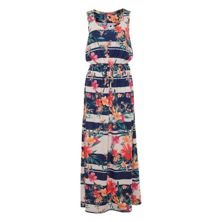 A|wear Floral Print Stripe Dress