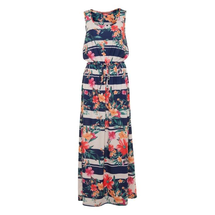 A wear Floral Print Stripe Dress