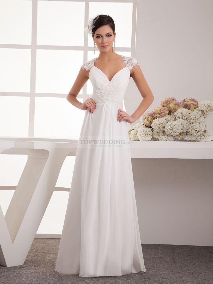 Appliqued Simple A Line Chiffon Wedding Dress