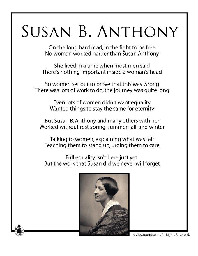black history poems   Women's History Month Poems for Kids Susan B Anthony Kids Poem ...