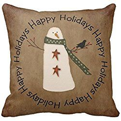 "Primitive Country Snowman Pillowcase Cushion Cover Cotton 18"" X 18"""
