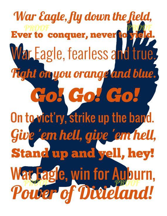 Auburn Fight Song  White Background Orange by NovaWebDevelopment