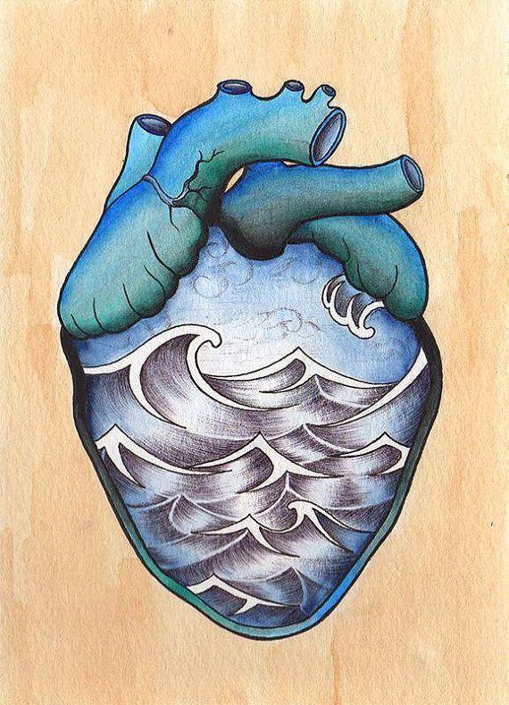 Ocean Heart Print by CWarrenTattoos on Etsy