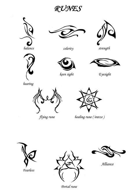 Runes from The Mortal Instruments!! I think that the strength and the fearless runes would make great tattoos -- NOT THAT I'M GETTING ONE!